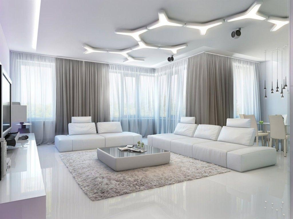 فكرة رائعة تتكون إضاءة هذا السقف من وحدات من القطع علي شكل واي تم ترتيبها لإنشاء هذا ال White Living Room Decor Apartment Decorating Living Bright Living Room