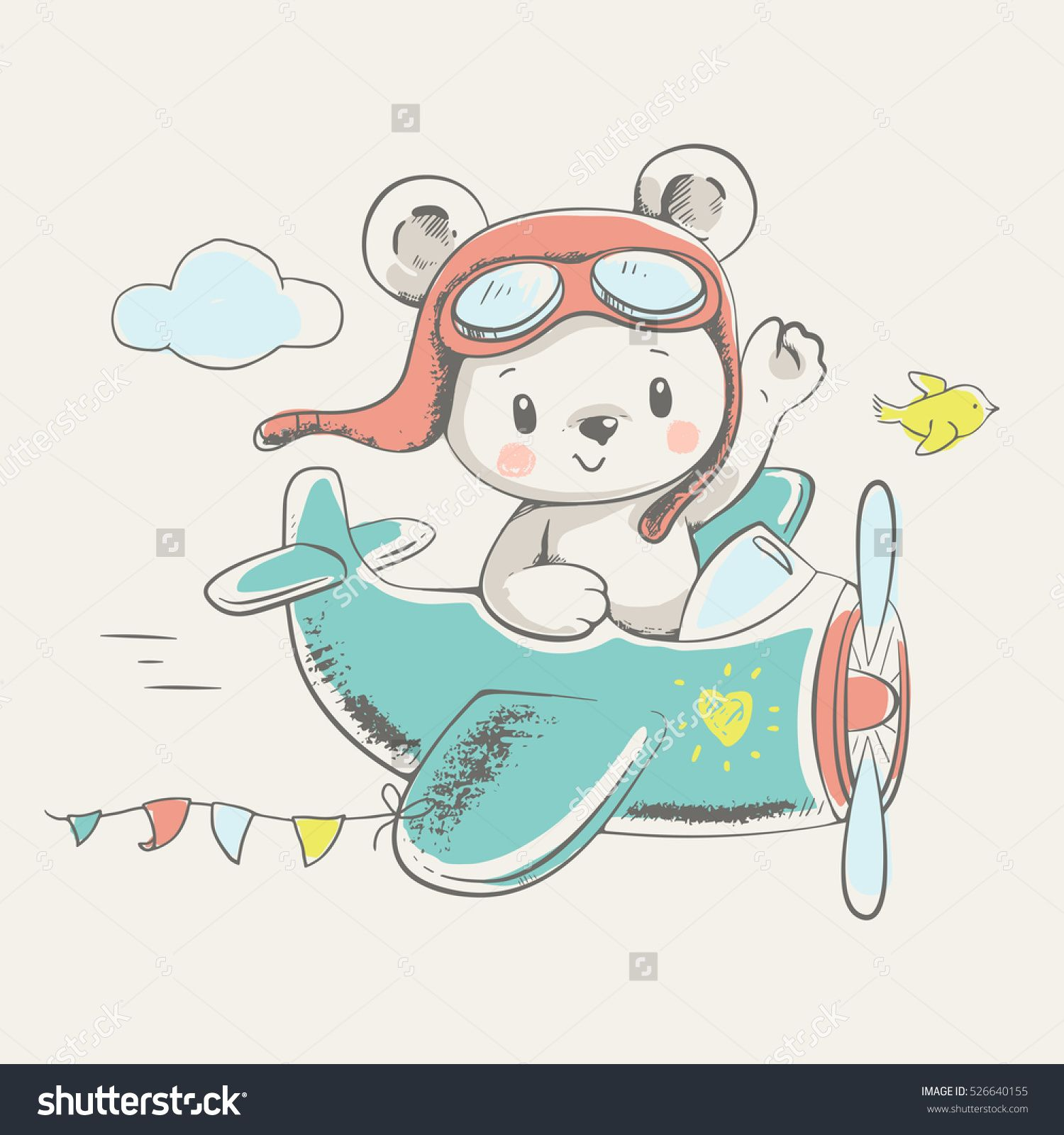 Cute Little Bear Flying On A Plane Cartoon Hand Drawn