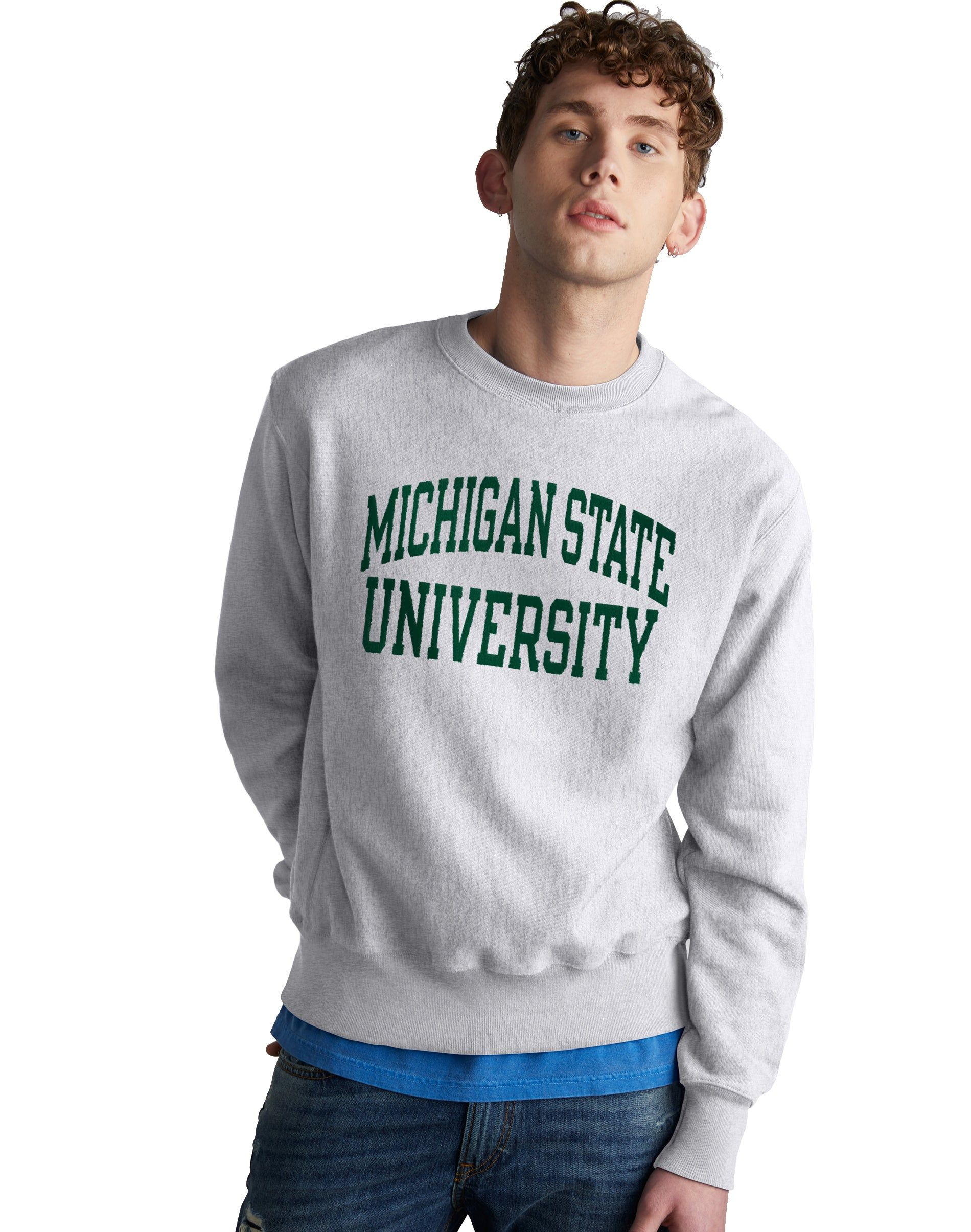 Men S Champion Life Reverse Weave Ncaa Michigan State Spartans Sweatshirt Silver Grey Sweatshirts Tiger Sweatshirt Irish Sweatshirts [ 2410 x 1900 Pixel ]