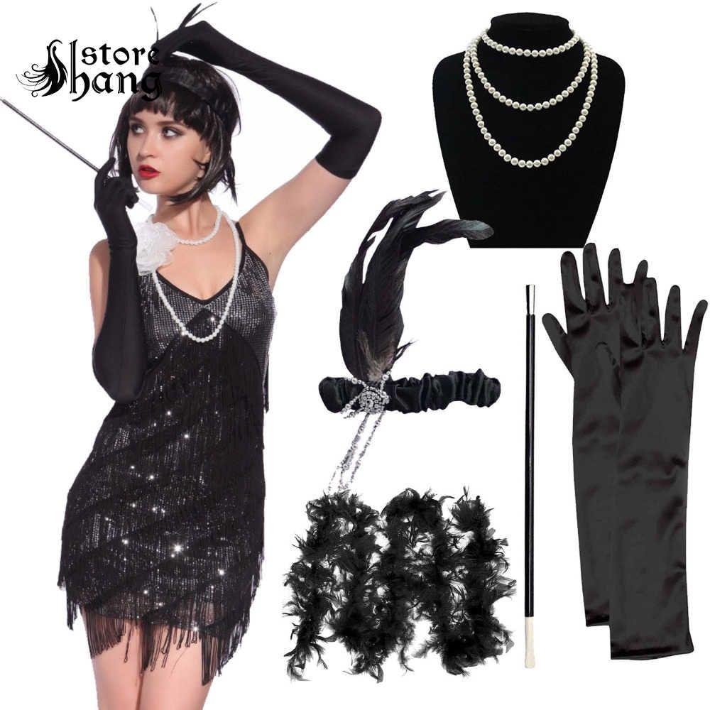 Fancy Dress Accessory Long Black Gloves Burlesque Flapper 1920