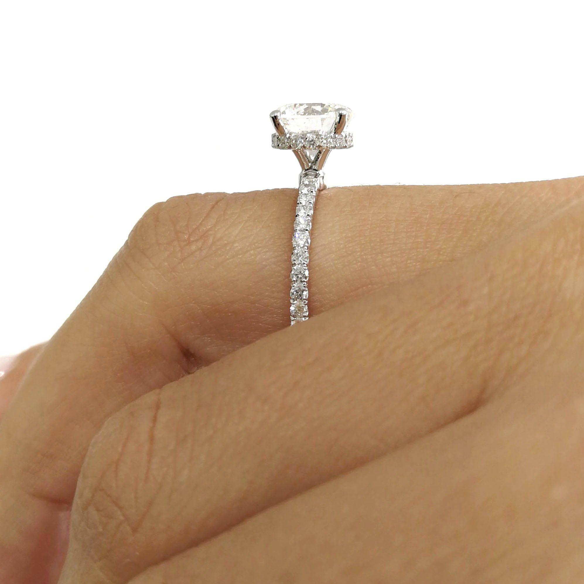 Carat D Vs Round Hidden Halo Design Diamond Engagement Ring K White Gold J
