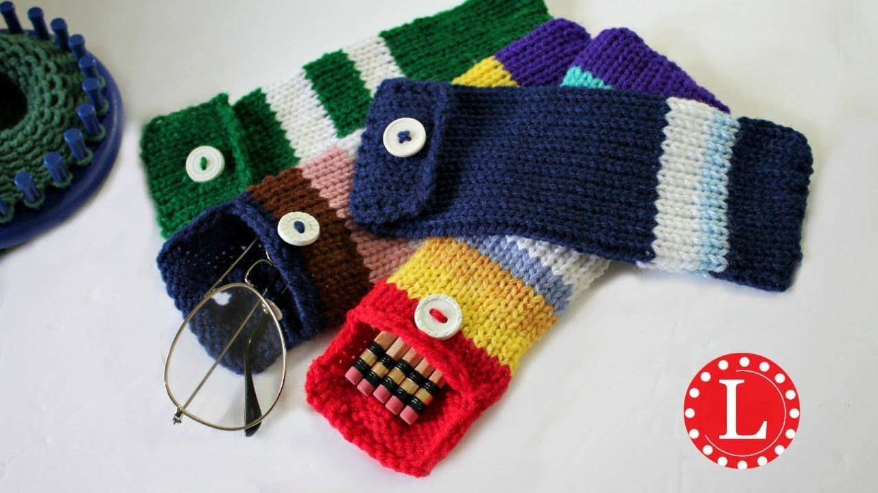 Loom knitting case for pencils eyeglasses hooks round loom 24 how to loom knit a pencil case this project pattern is beginner easy and can be adjusted for a lot of other uses learn how to make a button hole bankloansurffo Image collections