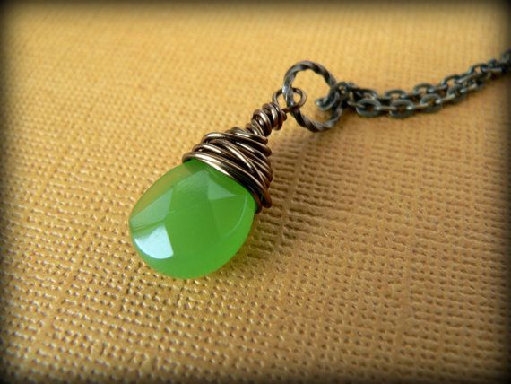 Wire Wrapped Briolette Necklace $16