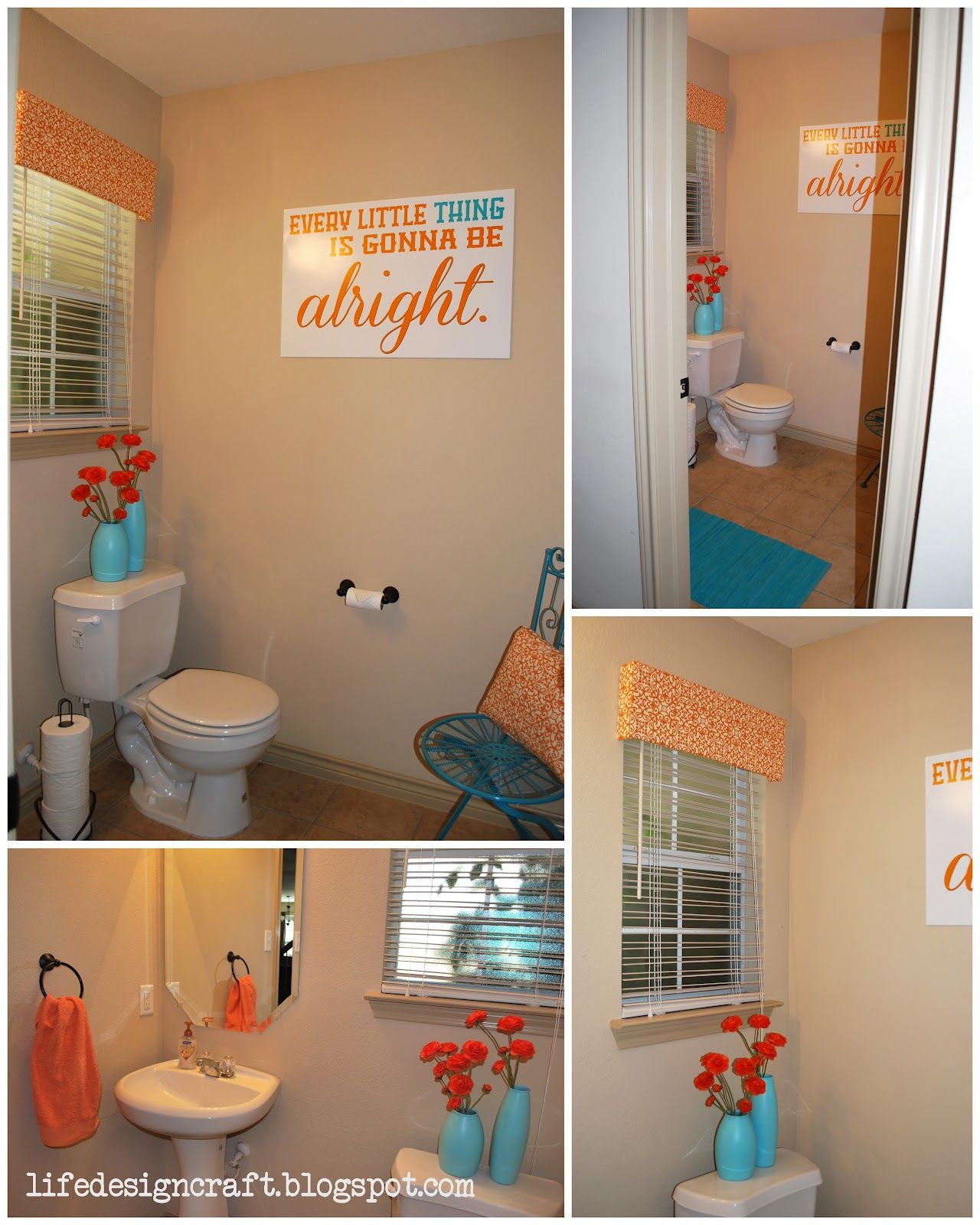 Orange Turquoise Bathroom With Free Print Every Little Thing Is Gonna Be Alright Orange Bathroom Decor Coral Bathroom Decor Orange Bathrooms