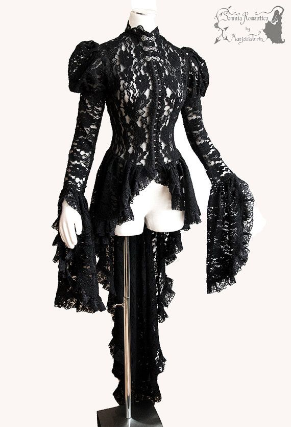 ➸ This black lace waistcoat or cardigan is inspired by late Victorian fashion, adjusted to own design. It is made of a good quality stretch lace, decorated with lots of lace and trim. It has a high necline, puff sleeves which flare out at the wrist. It has a long flaring skirt and clips and pewter clasps as fastening.  ➸ I live in The Netherlands, shipping outside the EU takes 1-3 weeks. I ship out in 1-3 days after purchase, assigned & with tracking. If you need an item before a specific...