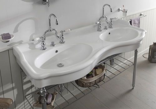 Mueble de lavabo doble / clásico / de metal / de cerámica PROVENCE - lavabo retro salle de bain