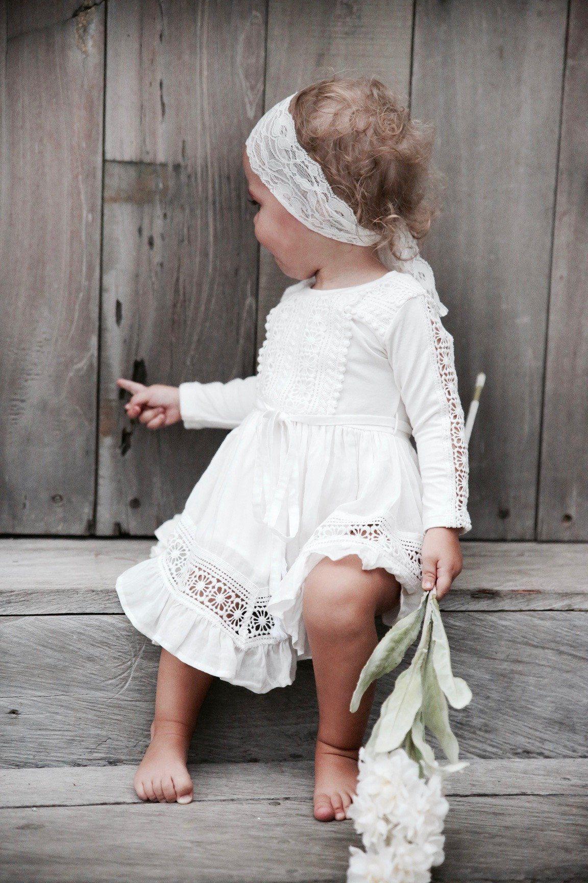 ivory baby dress white ivory  flower girl dress baby girl dress christening dress white baby dress baptism dress vintage baby dress