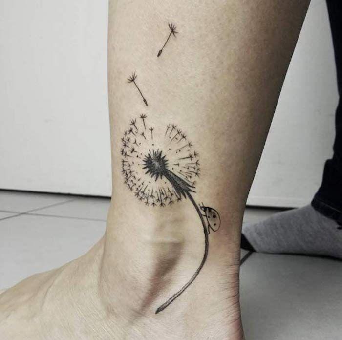 Frau tattoo pusteblume unterarm Pusteblume (Löwenzahn)
