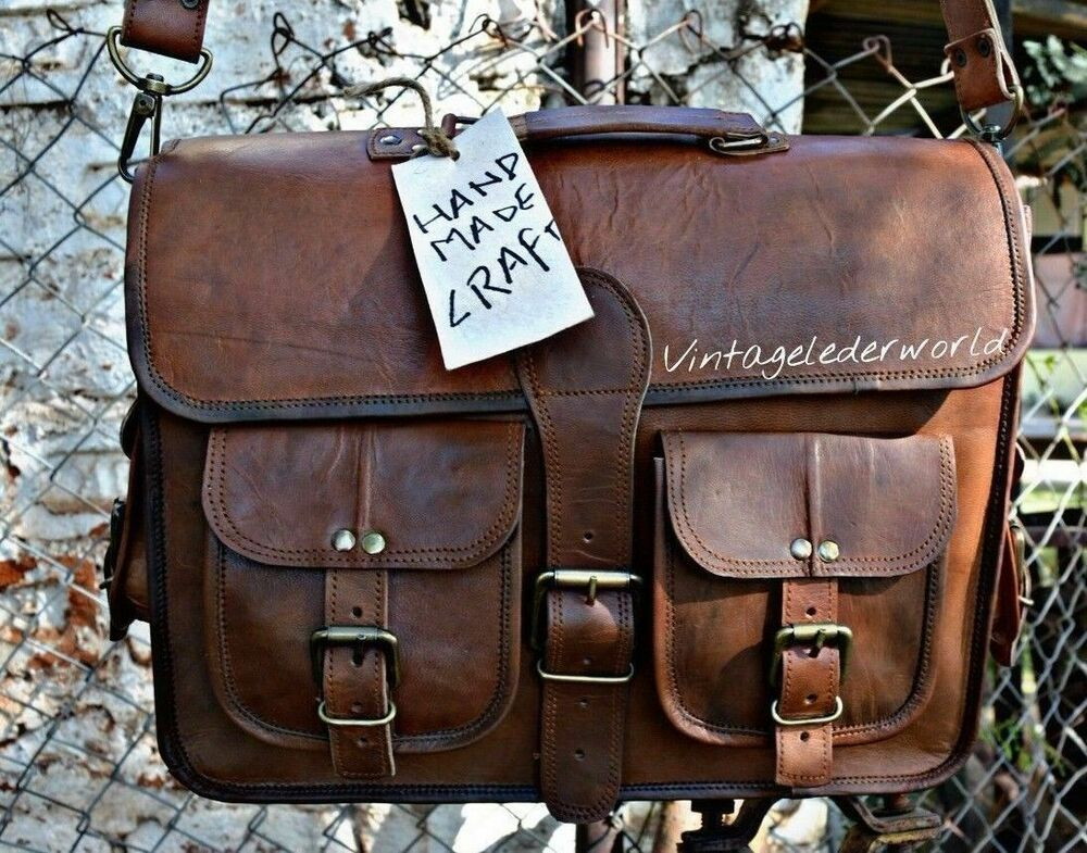 Vintage Leather Crafts Messenger Bag Satchel Leather Men/'s Briefcase Laptop Bag