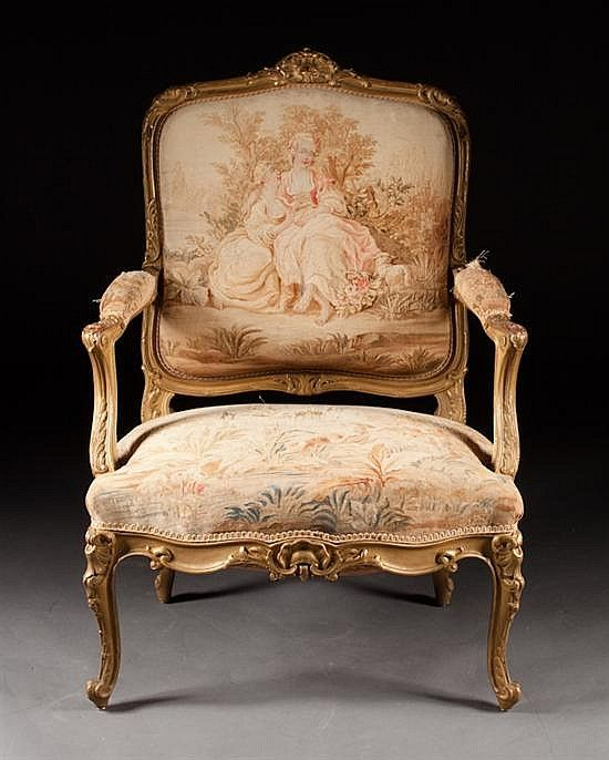 Antique Tapestry Sofa: Louis XV Style Carved Giltwood Tapestry Upholstered