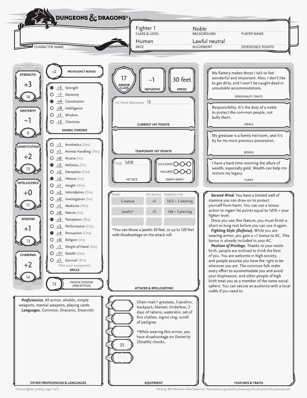 Level  Human Cleric Build Sheet