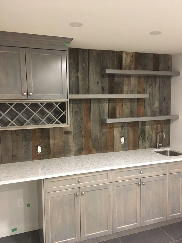 His Her Home Reclaimed Wood Feature Wall Barnwood Reclaimedwood Bar Backsplash Featurewall Woodfeaturewal Home Bar Furniture Diy Home Bar Bars For Home