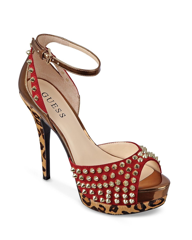 47d1f4d61a6 GUESS Ankle Strap Peep Toe Platform Pumps - Gabino