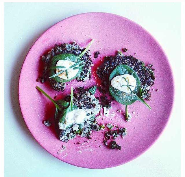 purple cauliflower, rosemary, and kale fritters with tzatki & sea salt