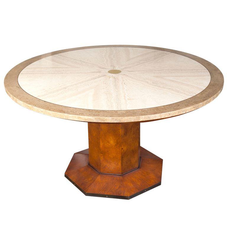 Burlwood Travertine Game Table By JOHN WIDDICOMB