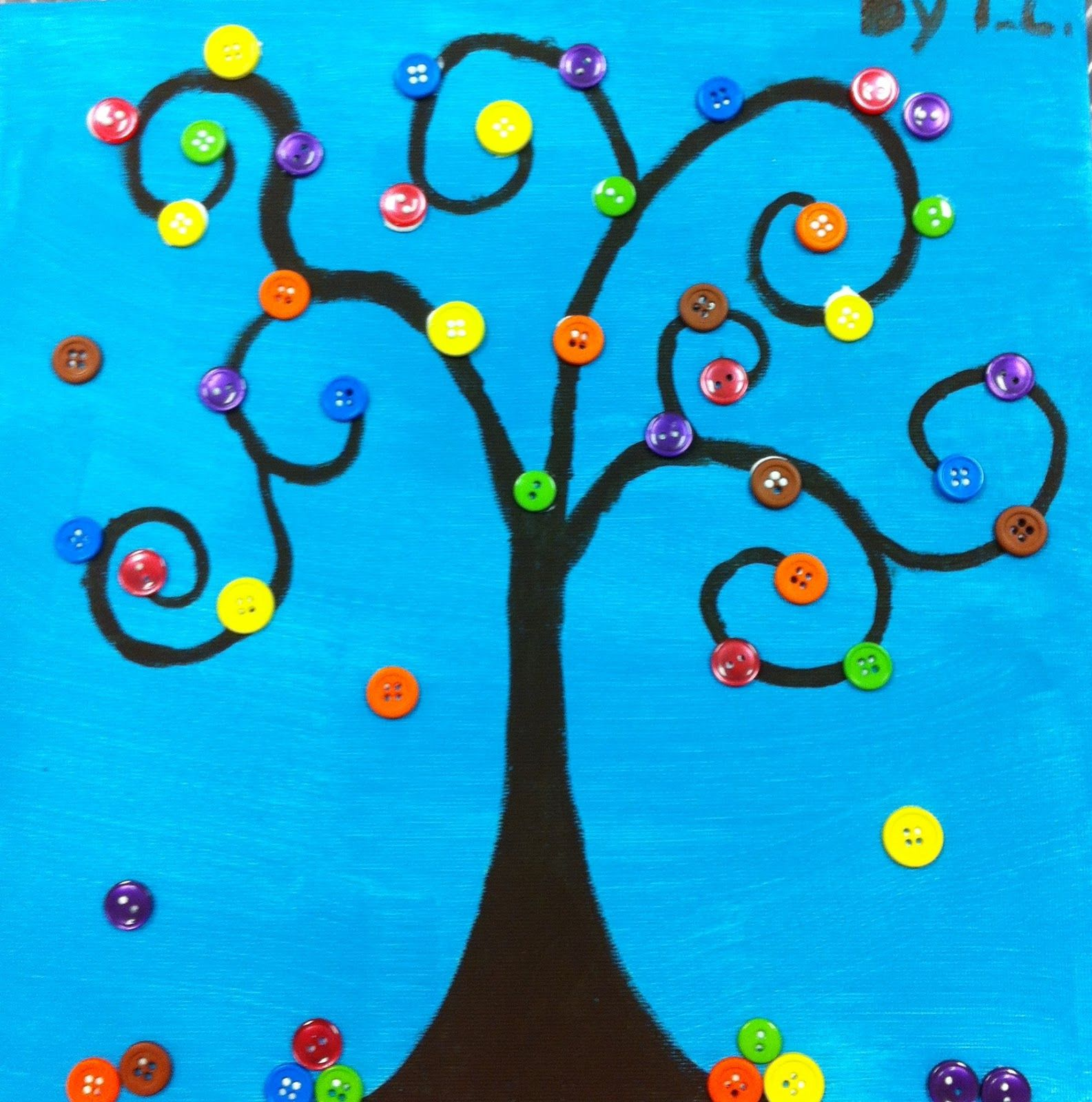 Spring crafts angela anderson art blog button trees for Art and craft classes for kids