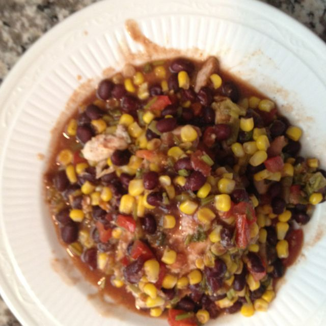 Taco chicken with black beans and corn salsa.