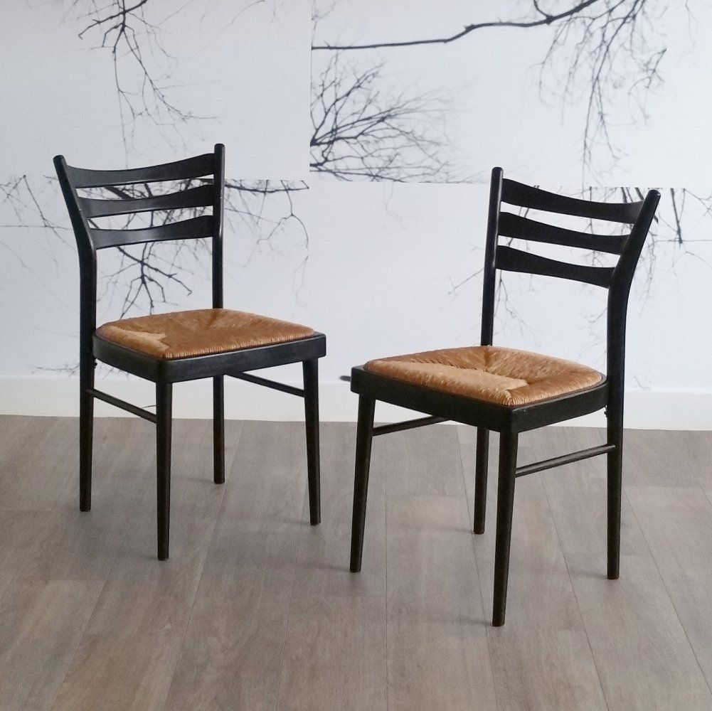 For Sale Set Of 2 Black Dining Chairs With Rush Seat 1970s In 2020