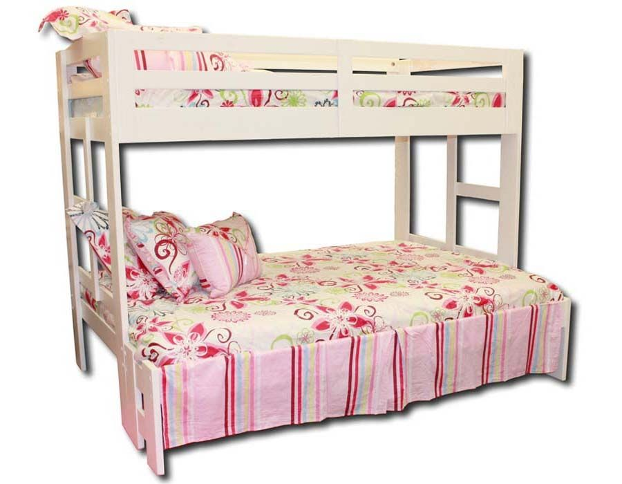Shiloh bunkbed: featuring clean straight lines, brushed metal cup hardware, strong safety rails and built in ladders!