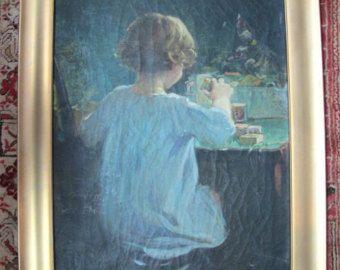 Bambini Dipinti ~ Originale anna milo upjohn olio dipinto ritratto di bambino che