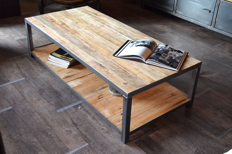 table basse palette deco fer et bois pinterest table. Black Bedroom Furniture Sets. Home Design Ideas