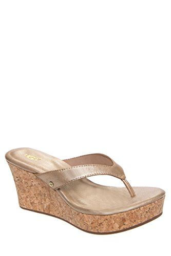 383b3f430f2e New UGG Womens Natassia Cork Wedge Thong Sandal Gold Washed Leather 8      Check out the image by visiting the link. (This is an affiliate link)   ...