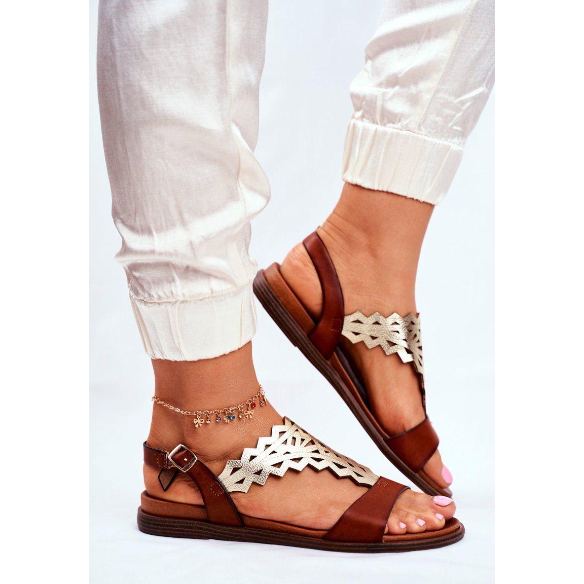 Sandaly Damskie Plaskie Sergio Leone Brazowe Sk035 Srebrny Shoes Fashion Sandals