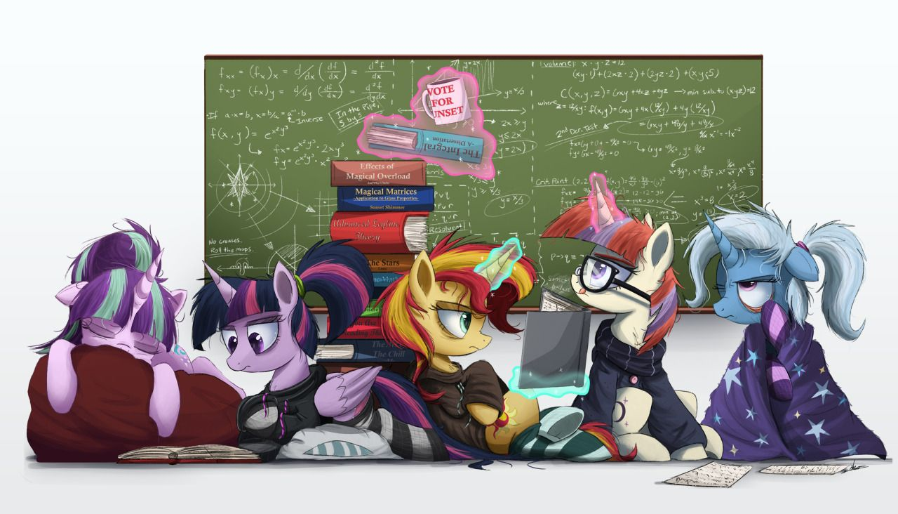 "ncmares: ""Study Up. Study Hard - NCMares Happy finals, everybody. :) I may or not be projecting myself onto Trixie, here. Best enjoyed with Mass Nerder. I've been sitting on this concept for more than..."