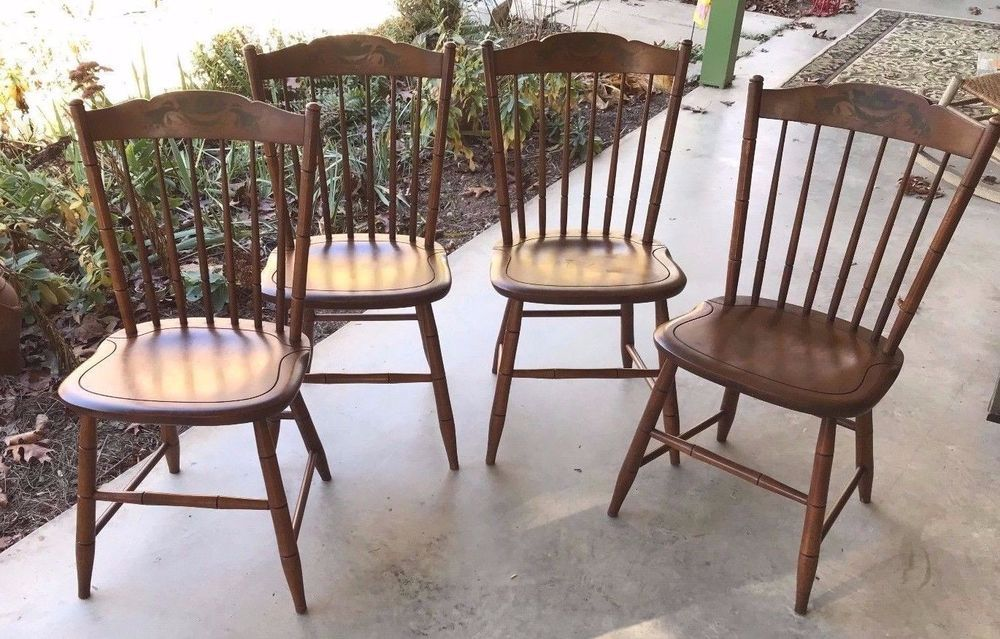 Set Of 4 Original And Marked Hitchcock Chairs Hitchcock Chair