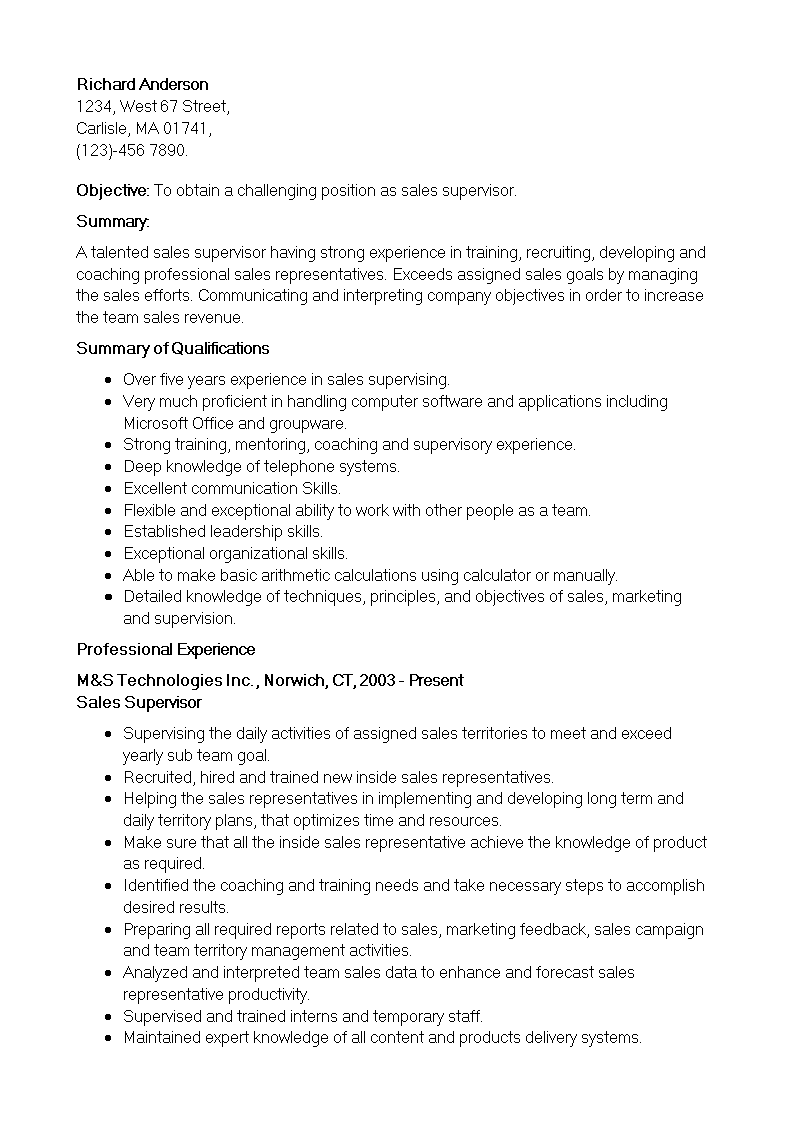 Retail Sales Supervisor Resume How To Create A Retail Sales Supervisor Resume Download This Retail Sales Supervisor Res Resume Skills Resume Download Resume