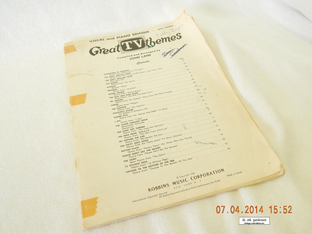 """GREAT TV THEMES""! SONGBOOK! PIANO AND VOCAL EDITION! 1966! USED/ENJOYED! AS IS!"