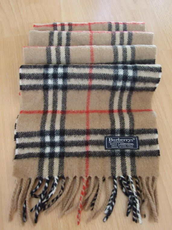 0bab35e166ea5 Vintage Burberrys London 100% lambswool nova check beige pattern Scarf  Schal made in England