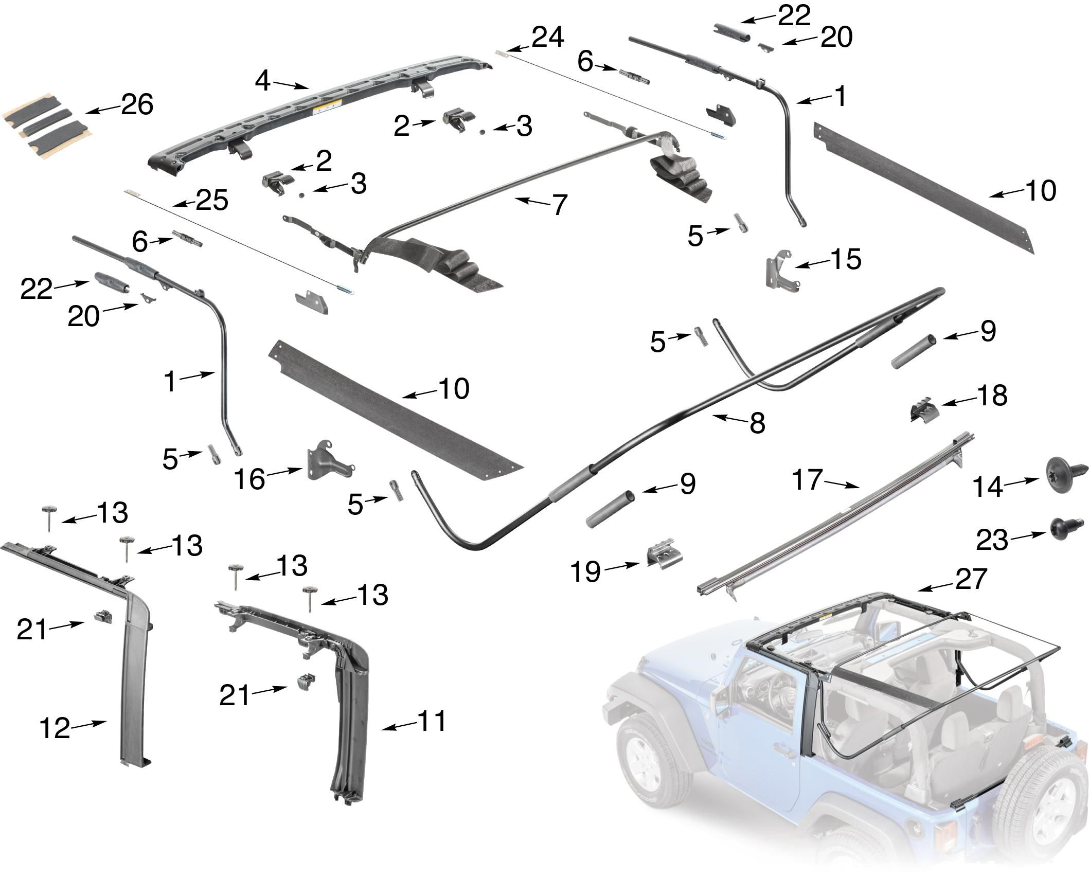 Jeep Wrangler Jk Soft Top Hardware Parts 2016 Fall