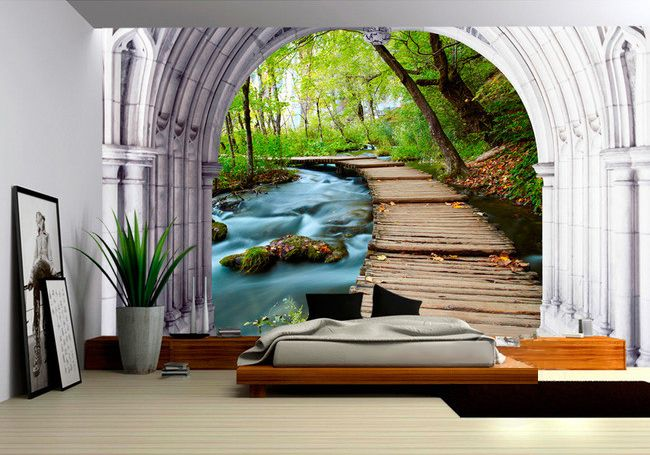 tapisserie paysage papier peint 3d personnalis dans la. Black Bedroom Furniture Sets. Home Design Ideas