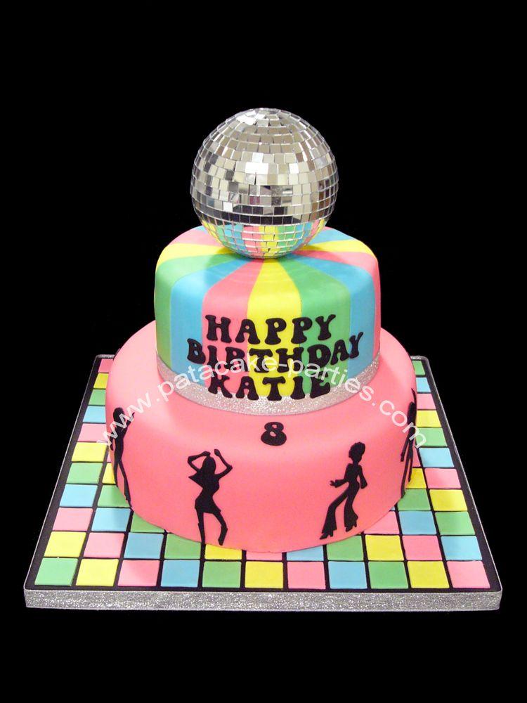 Disco Themed Cakes Disco Cake With Mirror Ball Bday Stuff