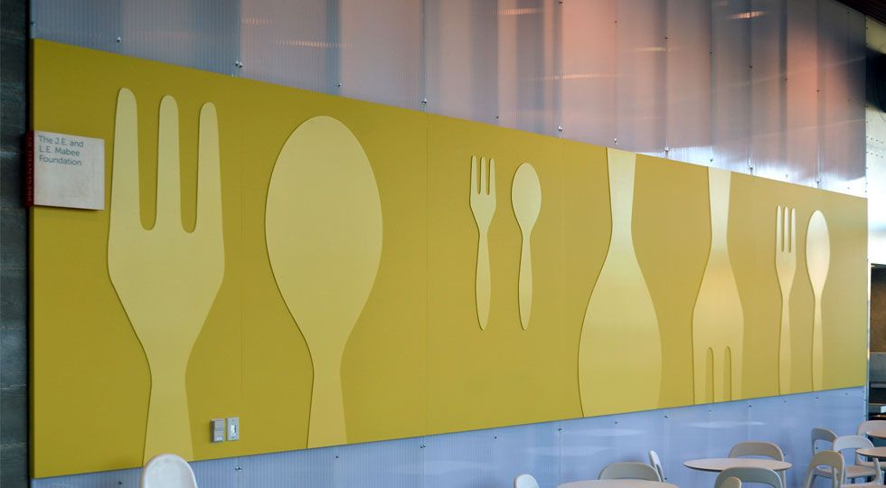 Wall graphics for the dining hall capital architectural for Dining hall wall design