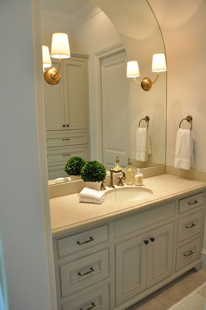 Beautiful Bathroom...Brass Hardware, Gray, Sconces, Sconces On Mirror