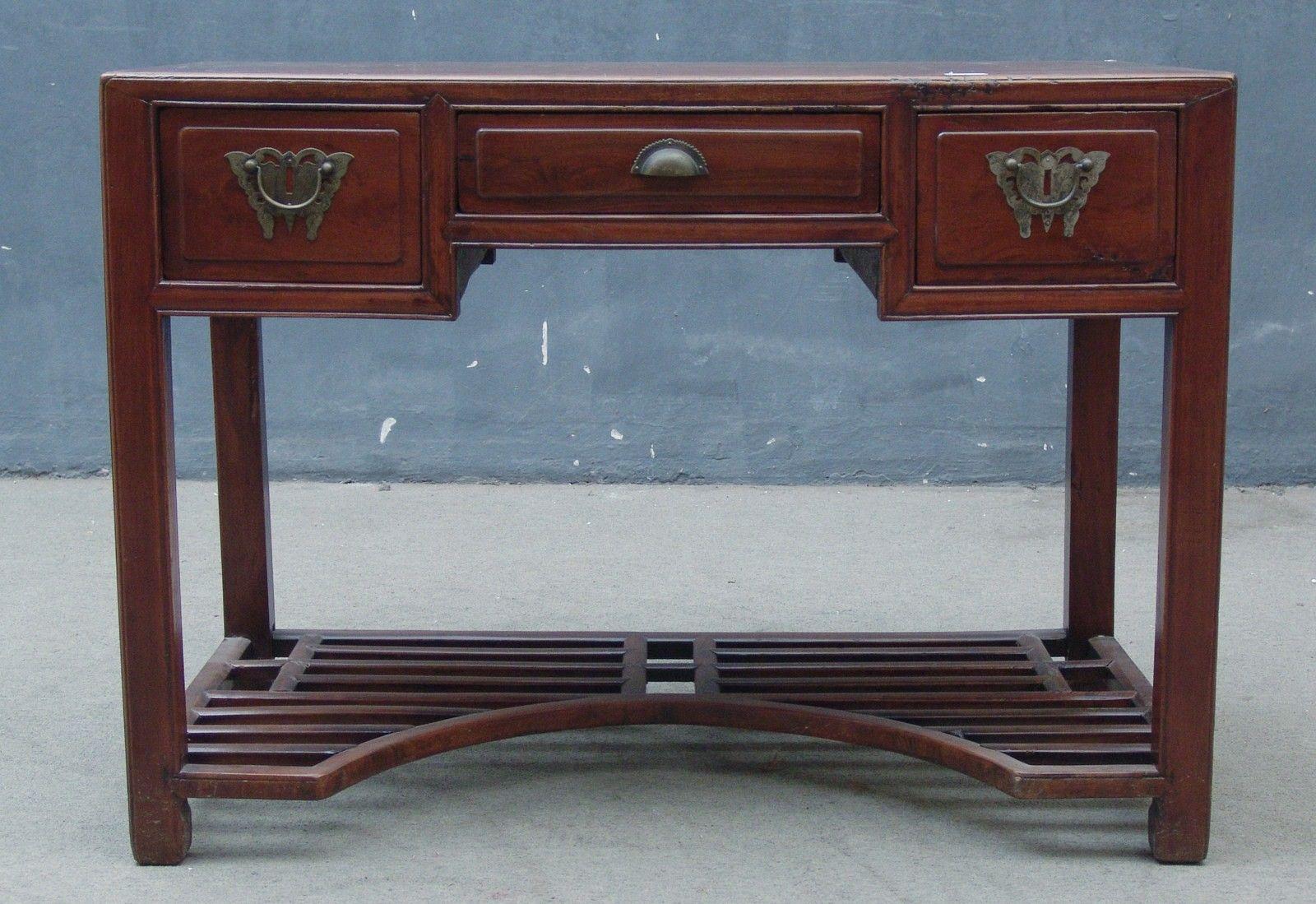 Bureau ancien 3 tiroirs zamu cyprès origine jiangsu approx. 40 ans