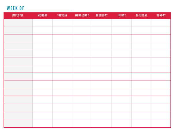 schedule of work template