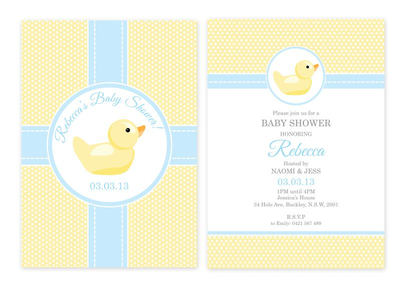Rubber ducky personalised party invitations party pinterest rubber duck personalised party invitations custom printed from australias party baby shower supplies shop filmwisefo