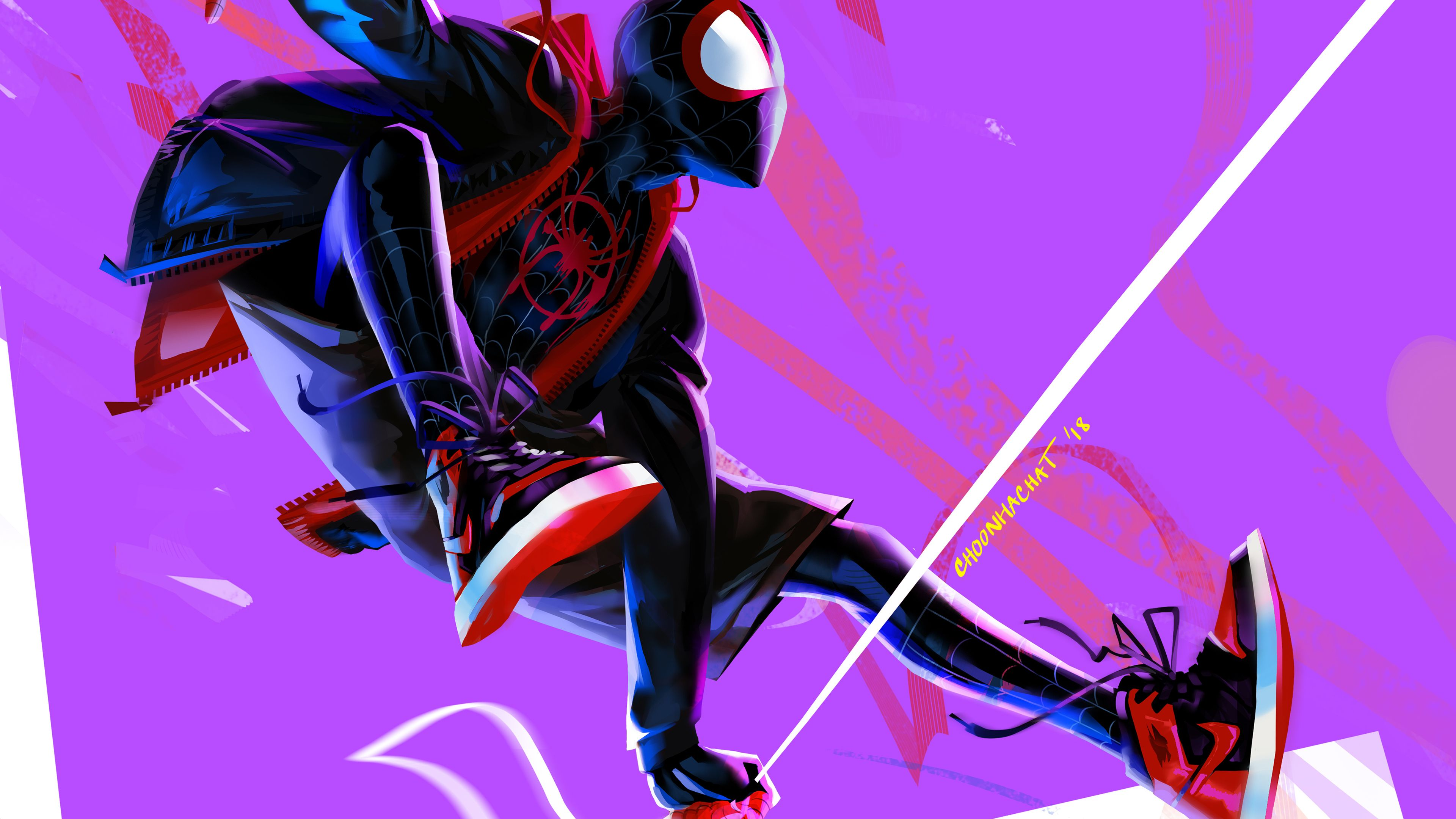Miles Morales In Spider Man Into The Spider Verse 4k Artwork superheroes wallpapers, spiderman ...