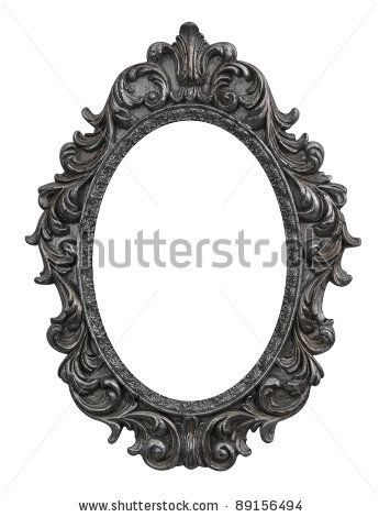 stock photo : baroque oval frame with silver leafs | bub tat ...