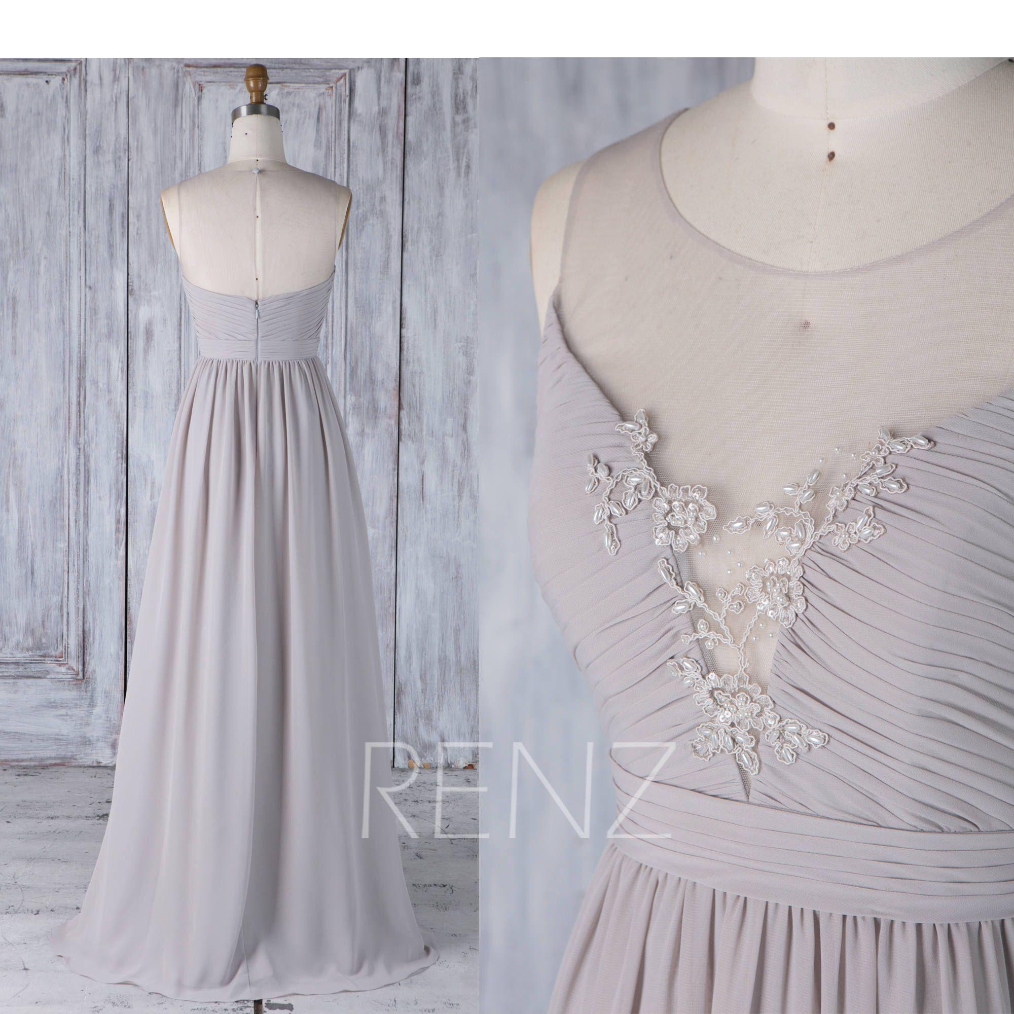 Chiffon wedding dress empire waist  Taupe Bridesmaid Dress Illusion Wedding Dress Empire Waist A Line