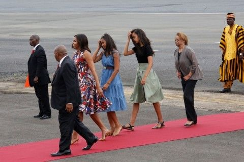 Here come the girls! Michelle, Sasha and Malia Obama touch down in Liberia to begin six-day trip without the president to promote education in Africa and Spain   Michelle Obama and her daughters touched down in Morocco on the next leg of their six-day trip to promote education in Africa on Monday evening, where they were welcomed by King Mohammed VI's wife Princess Lalla Selma at the...