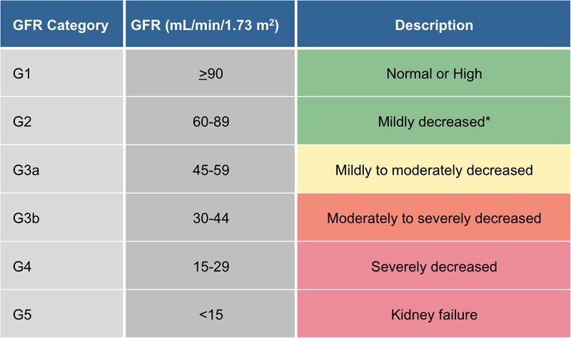 Figure 1 Glomerular Filtration Rate Categories in