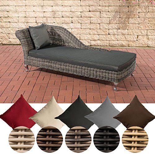 CLP Poly Rattan Sun Lounger SAVANNAH, Recamiere Armrest Left, Incl. 10 Cm  Thick Cushions, Premium Quality: 5 ...