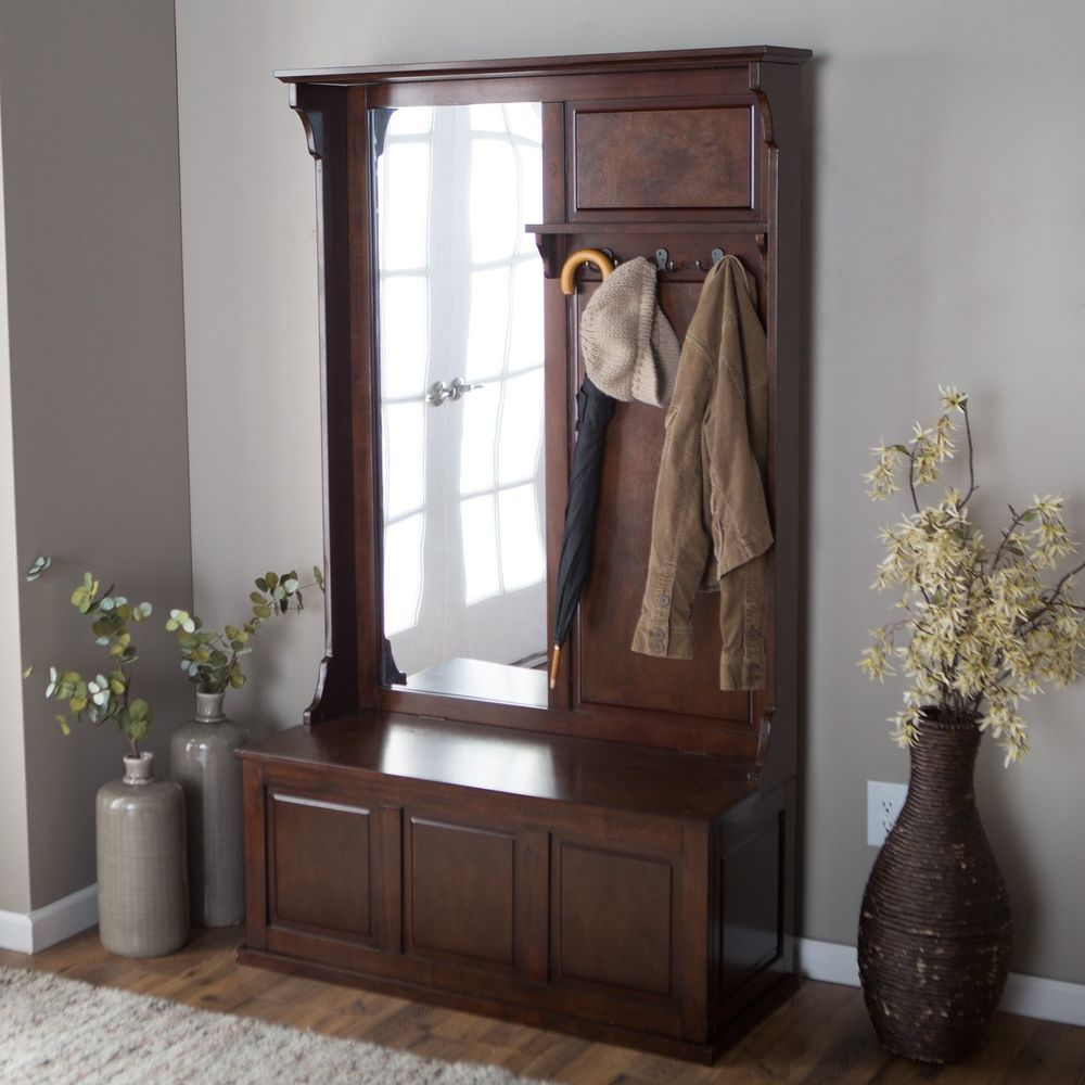 Espresso Foyer Bench : Entryway hall tree coat rack storage bench vertical mirror