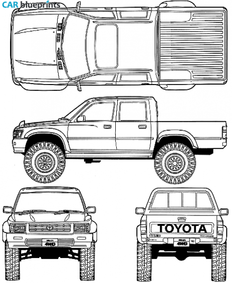Car blueprints 1992 toyota hilux v double cab 4x4 truck blueprint car blueprints 1992 toyota hilux v double cab 4x4 truck blueprint malvernweather Image collections