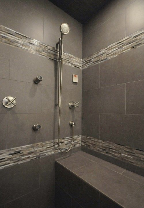 Double borders in the master bath tile shower