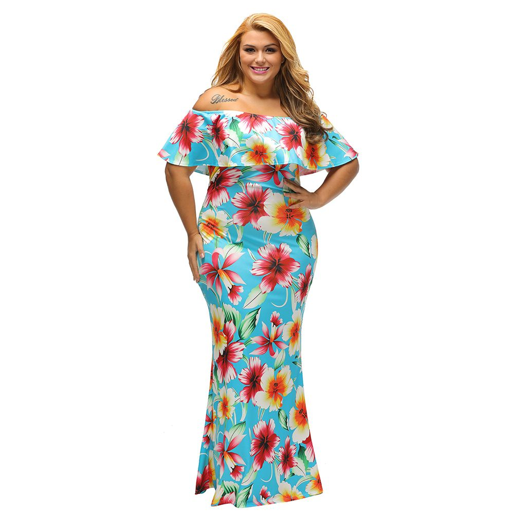 Tropical Floral Print Off the shoulder Maxi Dress Sexy Womens Bohemian Slim  Bodycon Dress 2017 New Vintage Long Party Dresses-in Dresses from Women s  ... 5d40a7625